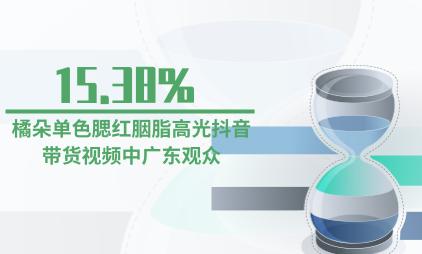 美妆行业数据分析:橘朵单色腮红胭脂高光抖音带货视频中广东观众占15.38%