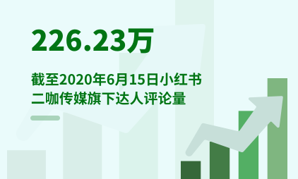 MCN行业数据分析:截至2020年6月15日小红书二咖传媒旗下达人评论量为226.23万