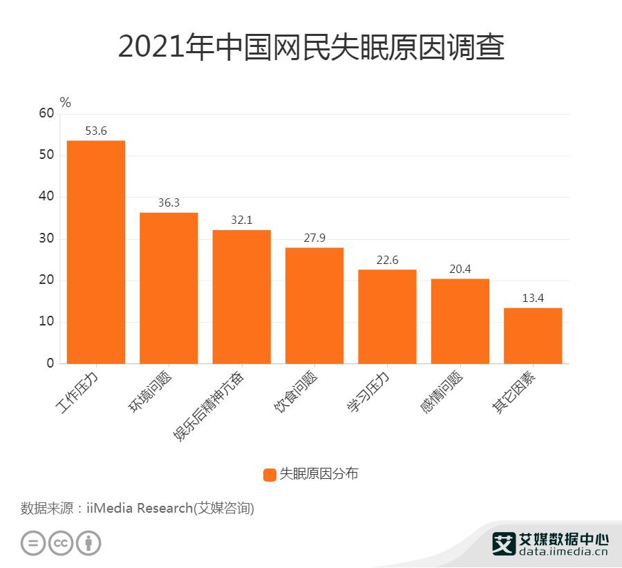 2021年中国中国网民失眠原因调查
