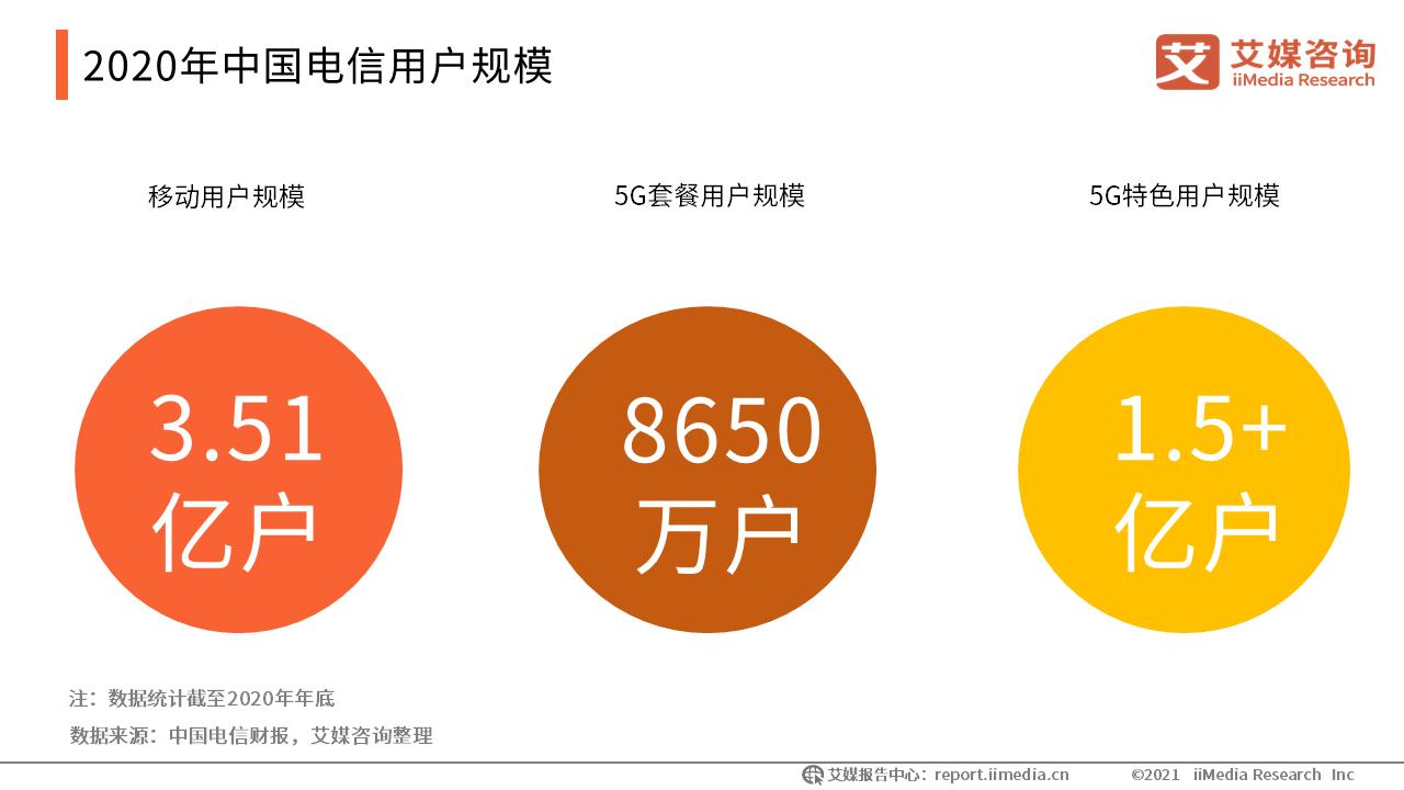 2020年中国电信用户规模