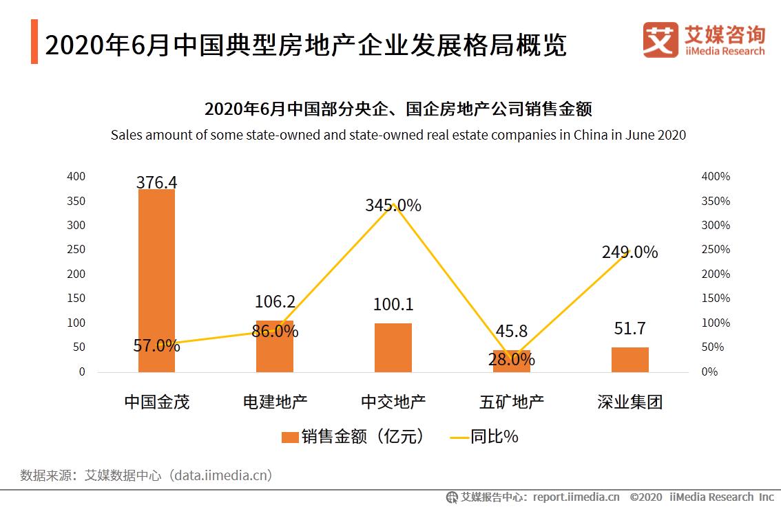 2020年6月中国典型房地产企业发展格局概览
