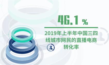 直播行業數據分析: 2019上半年中國三四線城市網民對直播電商的轉化率為46.1%