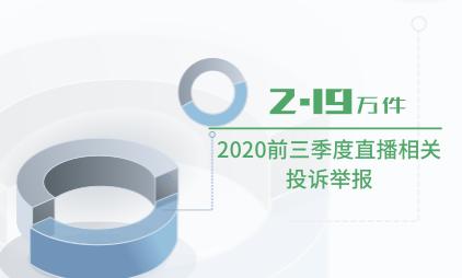 直播电商行业数据分析:2020前三季度直播相关投诉举报为2.19万件