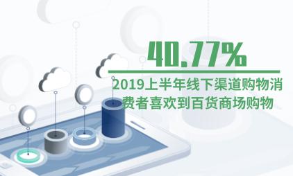 电商行业数据分析:2019上半年40.77%线下渠道购物消费者喜欢到百货商场购物
