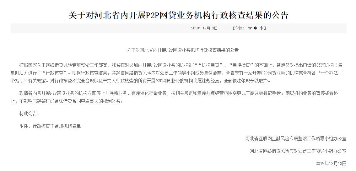 """又一省对P2P亮""""红牌""""!河北将取缔全部P2P业务,15家机构主动申请退出"""