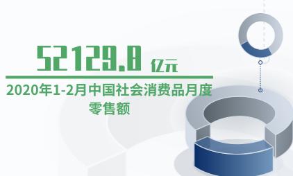 社会消费品行业数据分析:2020年1-2月中国社会消费品月度零售额为52129.8亿元
