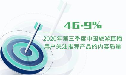 直播行业数据分析:2020年第三季度46.9%中国旅游直播用户关注推荐产品的内容质量