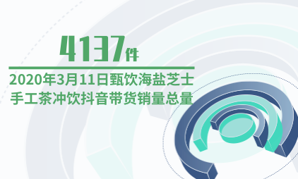 直播电商行业数据分析:2020年3月11日甄饮海盐芝士手工茶冲饮抖音带货销量总量为4137件