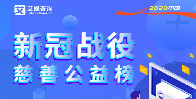 """艾媒咨询公布《2020中国互联网""""新冠战役""""慈善公益榜》"""