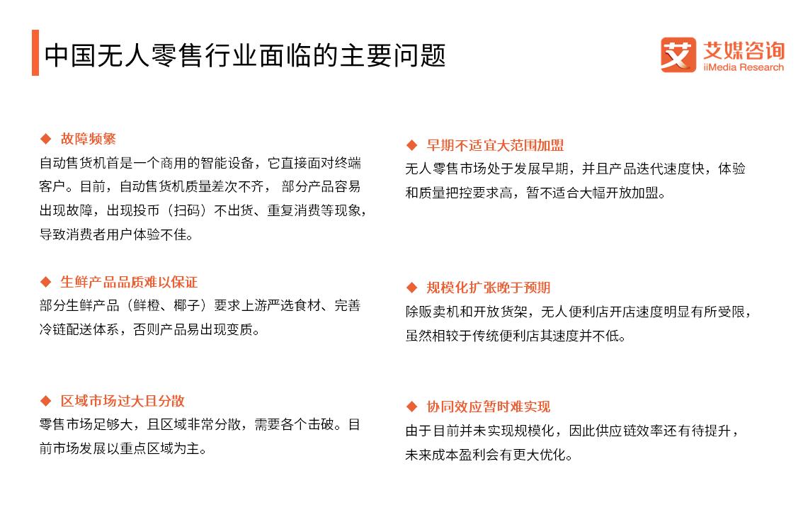 中国无人零售行业面临的主要问题