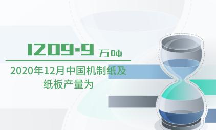 造纸行业数据分析:2020年12月中国机制纸及纸板产量为1209.9万吨