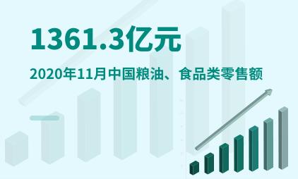 食品行业数据分析:2020年11月中国粮油、食品类零售额为1361.3亿元