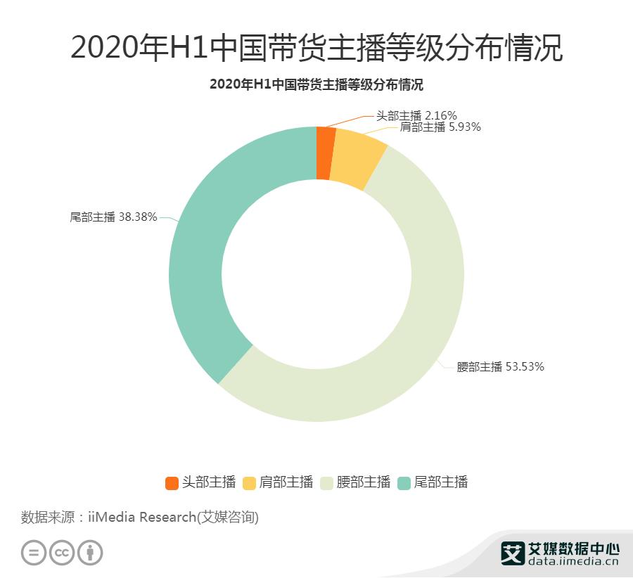 2020H1中国带货主播等级分布情况