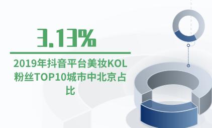 KOL营销行业数据分析:2019年抖音平台美妆KOL粉丝TOP10城市中北京占比3.13%