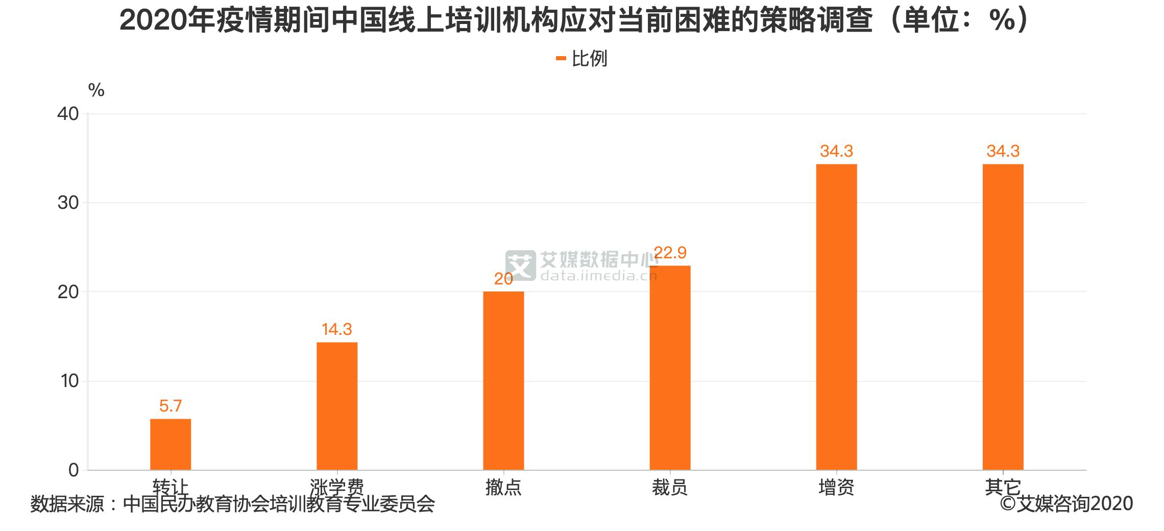 2020年疫情期间中国线上培训机构应对当前困难的策略调查(单位:%)