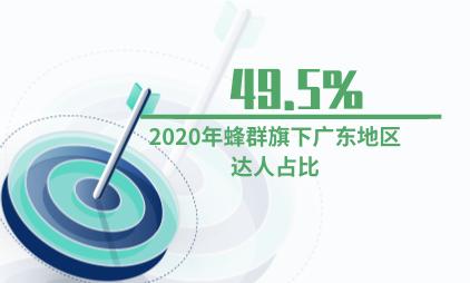 MCN行业数据分析:2020年蜂群旗下广东地区达人占比49.5%