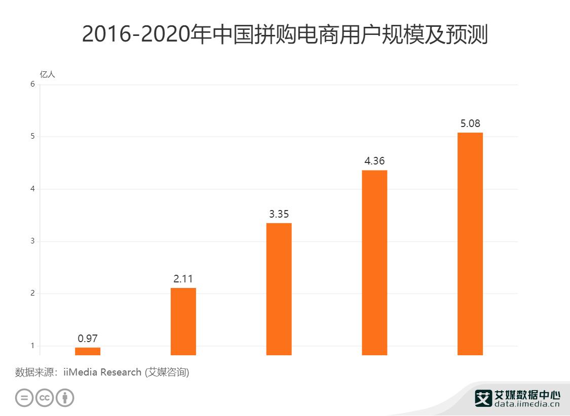 2016-2020年中国拼购电商用户规模及预测