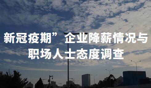 """2020年中国""""新冠疫期""""企业降薪情况与职场人士态度调查"""