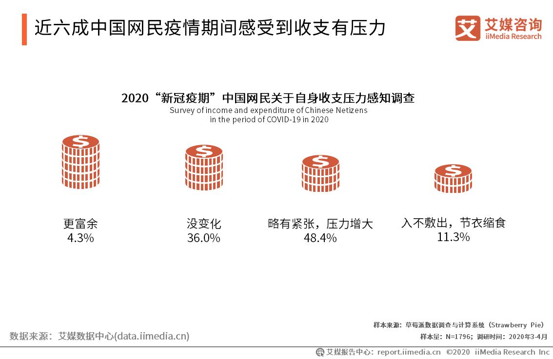 近六成中国网民疫情期间感受到收支有压力