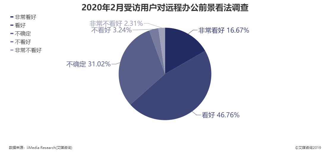 2020年2月受访用户对远程办公前景看法调查结果
