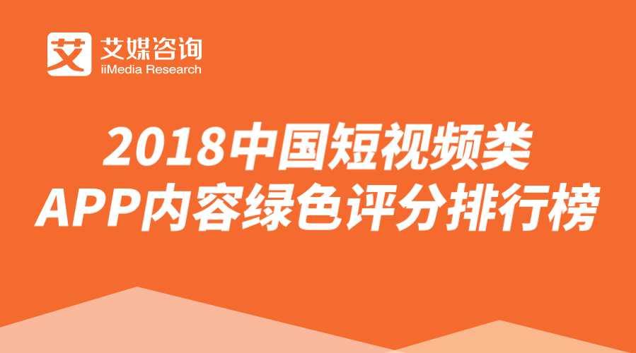【艾媒榜单】2018中国短视频类APP内容绿色评分排行榜