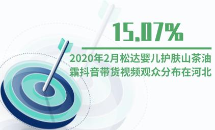 护肤品行业数据分析:2020年2月松达婴儿护肤山茶油霜抖音带货视频15.07%的观众分布在河北