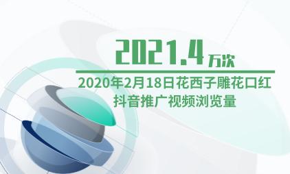 彩妆行业数据分析:2020年2月18日花西子雕花口红抖音推广视频浏览量为2021.4万次