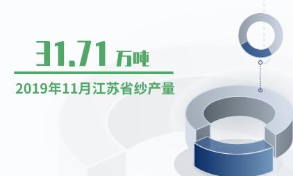 纺织行业数据分析:2019年11月江苏省纱产量为31.71万吨