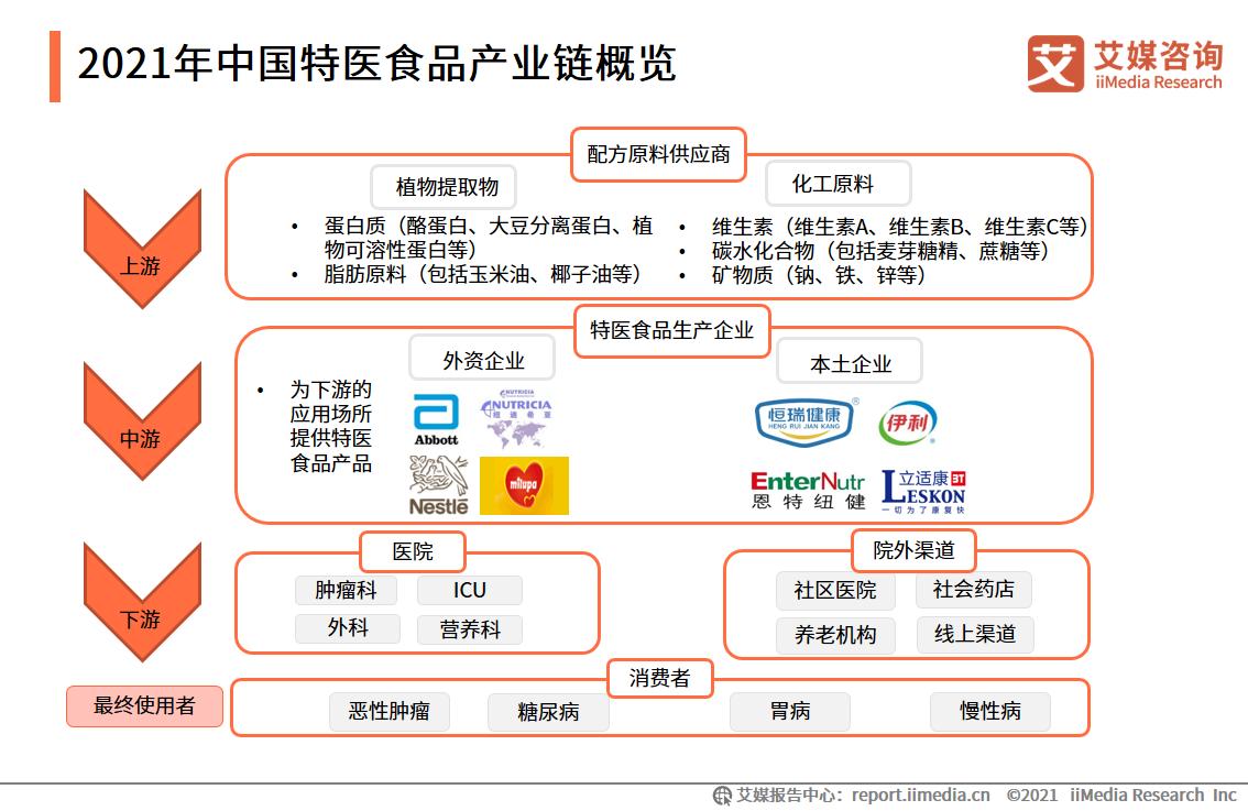 2021年中国特医食品产业链概览
