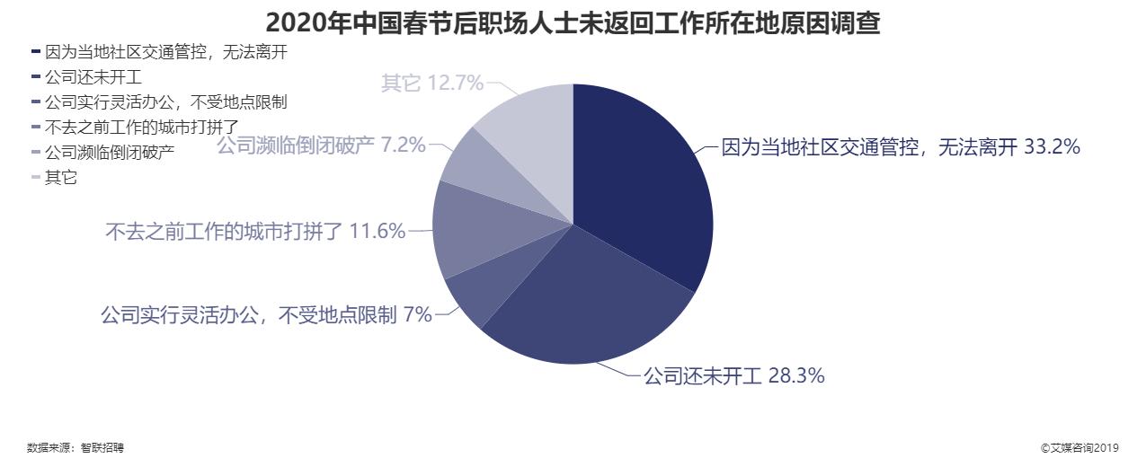 2020年中国春节后职场人士未返回工作所在地原因调查