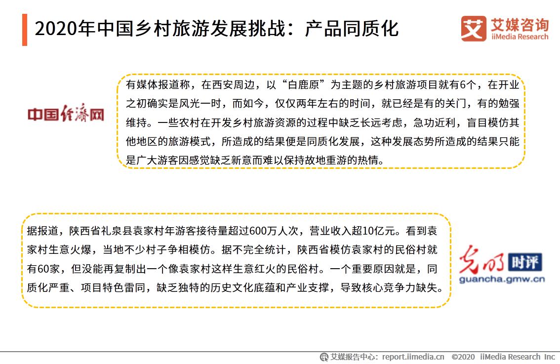 2020年中国乡村旅游发展挑战:产品同质化