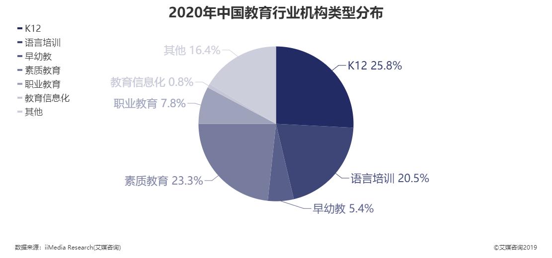 2020年中国教育行业机构类型分布情况