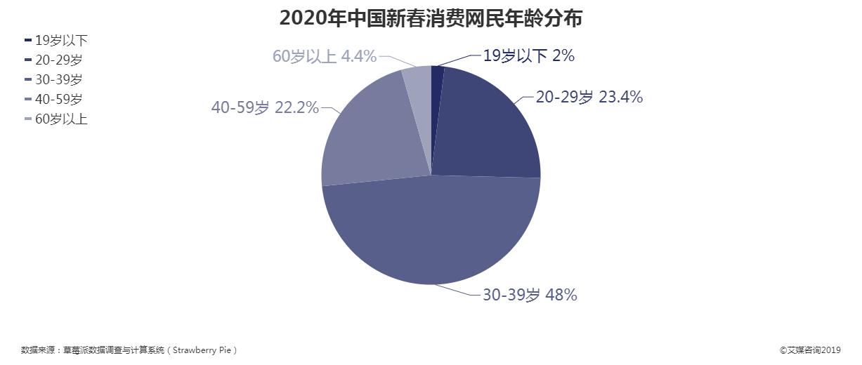 2020年中国新春消费网民年龄分布情况