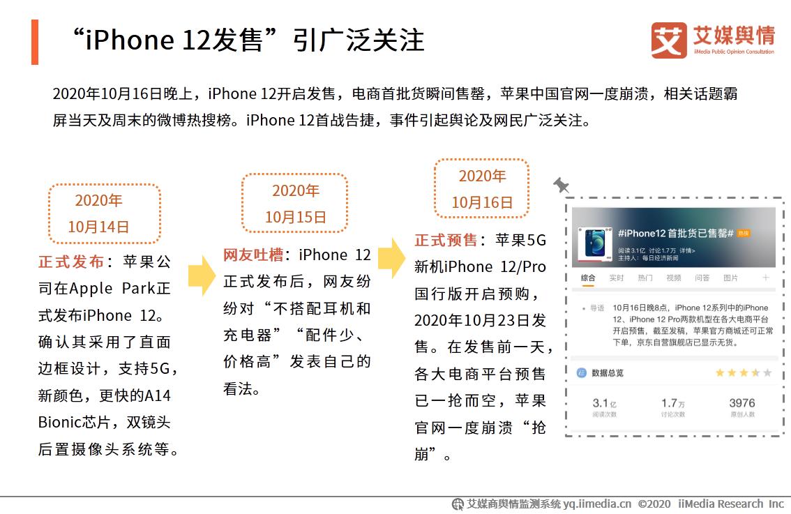 """iPhone 12发售""引广泛关注"