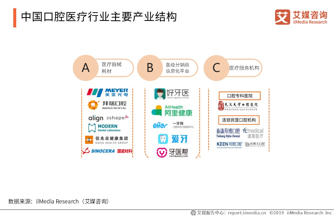 中国口腔医疗行业主要产业结构