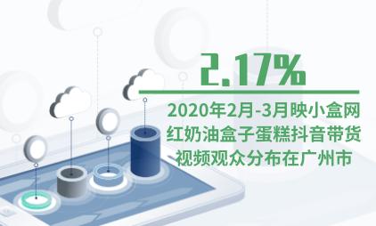 食品行业数据分析:2020年2月-3月2.17%映小盒网红奶油盒子蛋糕抖音带货视频观众分布在广州市