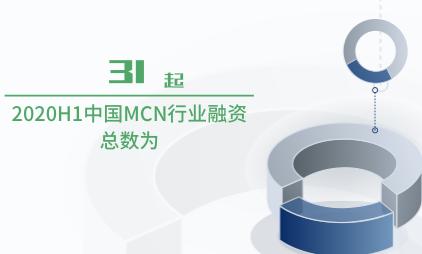 MCN行业数据分析:2020H1中国MCN行业融资总数为31起