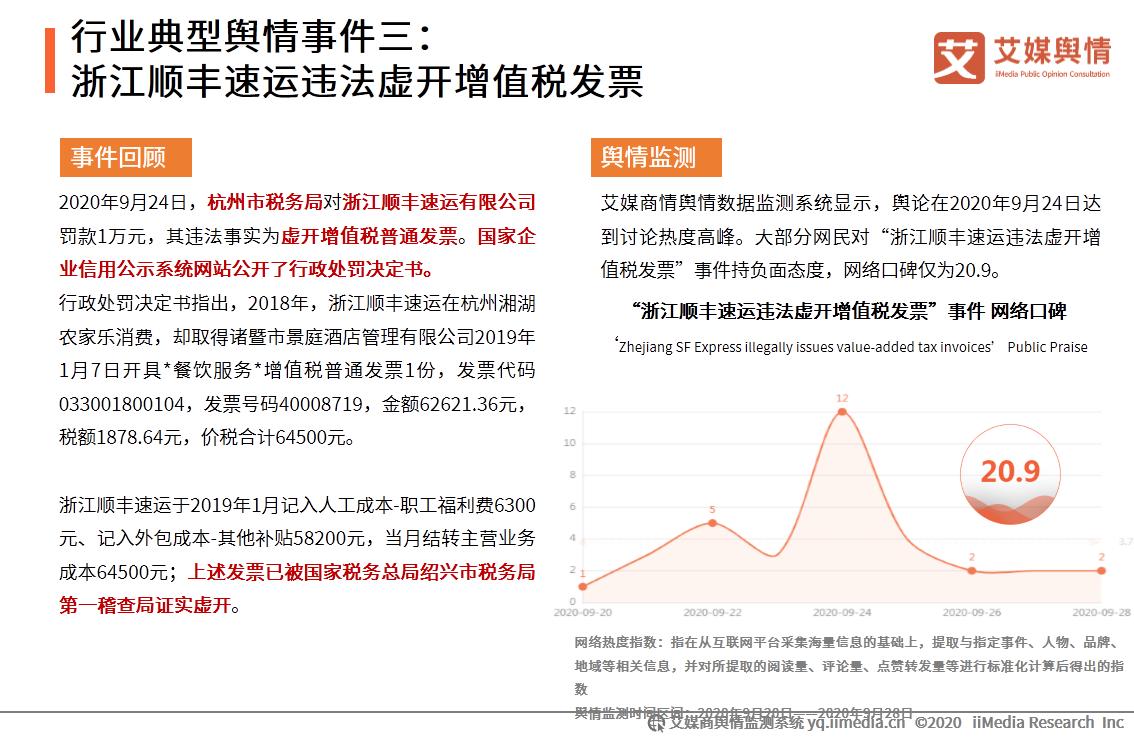 行业典型舆情事件三:浙江顺丰速运违法虚开增值税发票
