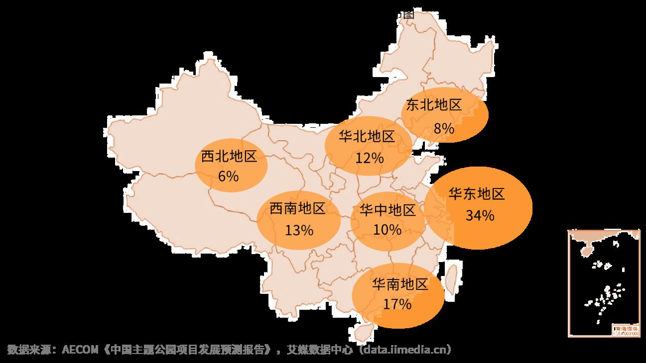 2018年中国现有主题公园地区数量分布图