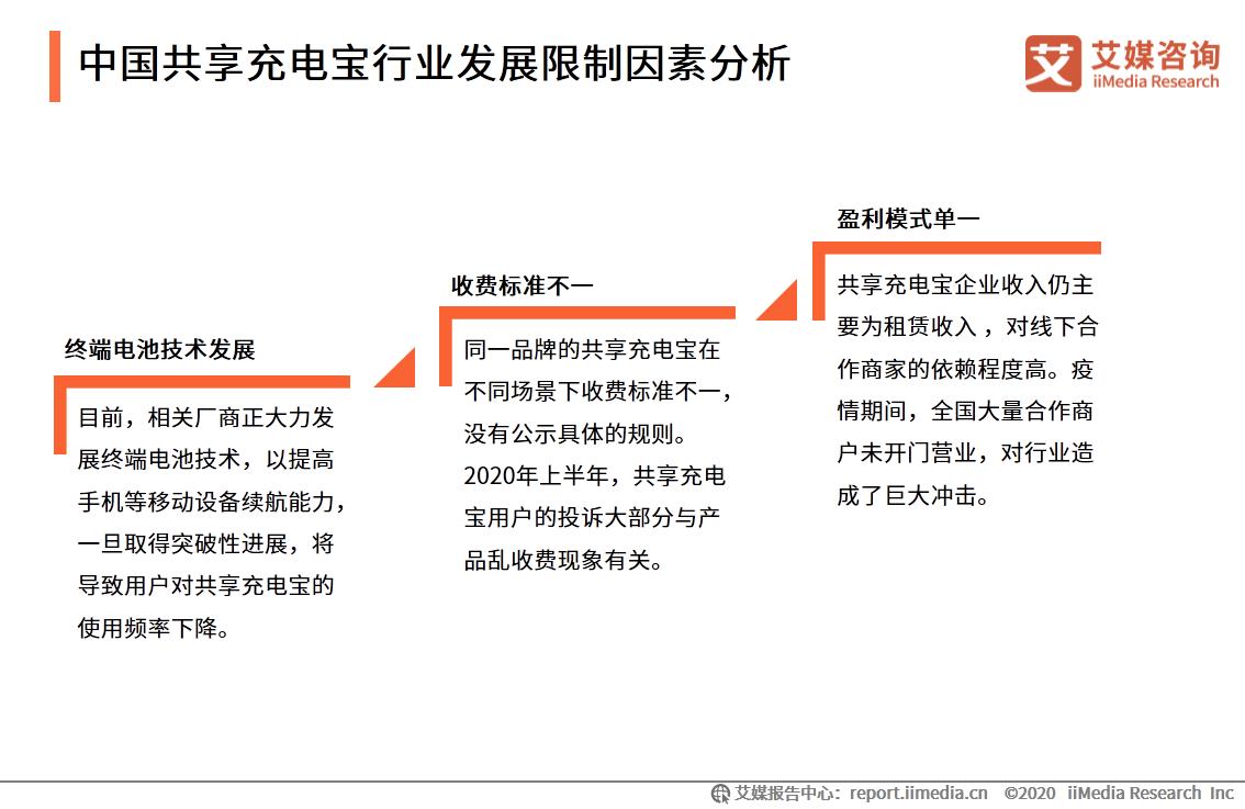 中国共享充电宝行业发展限制因素分析