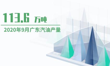 能源行业数据分析:2020年9月广东汽油产量为113.6万吨