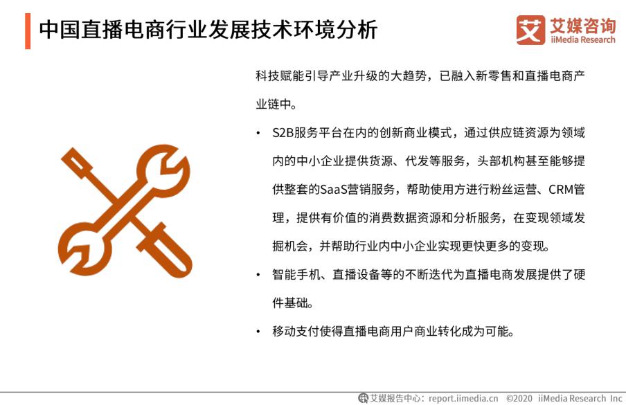 中国直播电商行业发展技术环境分析