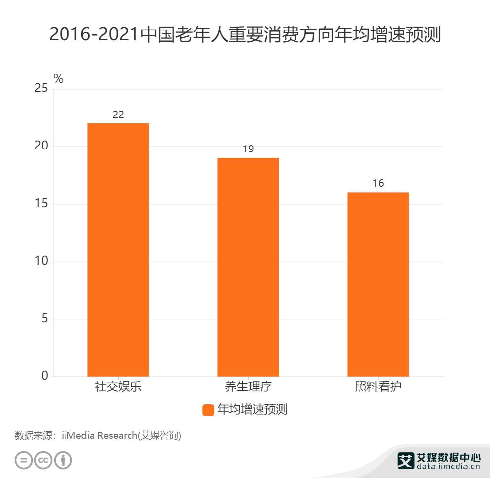 2016-2021中国老年人重要消费方向年均增速预测