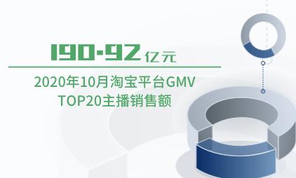 直播行业数据分析:2020年10月淘宝平台GMV TOP20主播销售额为190.92亿元