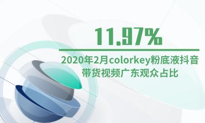 化妆品行业数据分析:2020年2月colorkey粉底液抖音带货视频观众地域分布中广东占比11.97%