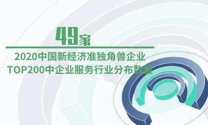 新经济行业数据分析:2020中国新经济准独角兽企业TOP200中企业服务行业分布数量为49家