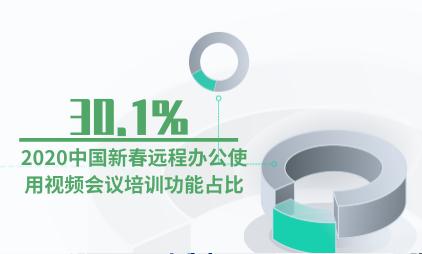 远程办公行业数据分析:2020中国新春远程办公使用视频会议培训功能占比达30.1%