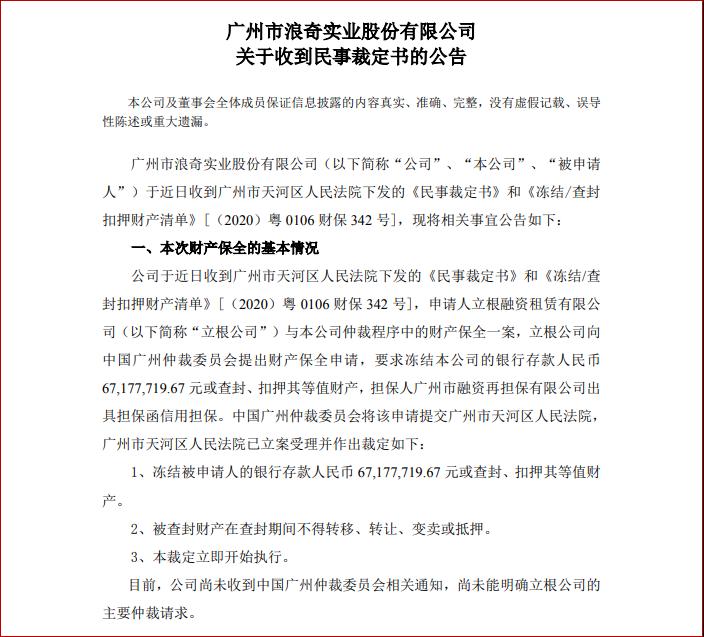 广州市浪奇实业股份有限公司关于收到民事裁定书的公告