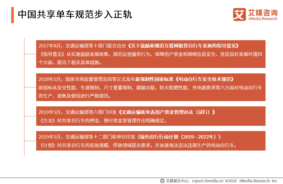 中国共享单车规范步入正轨