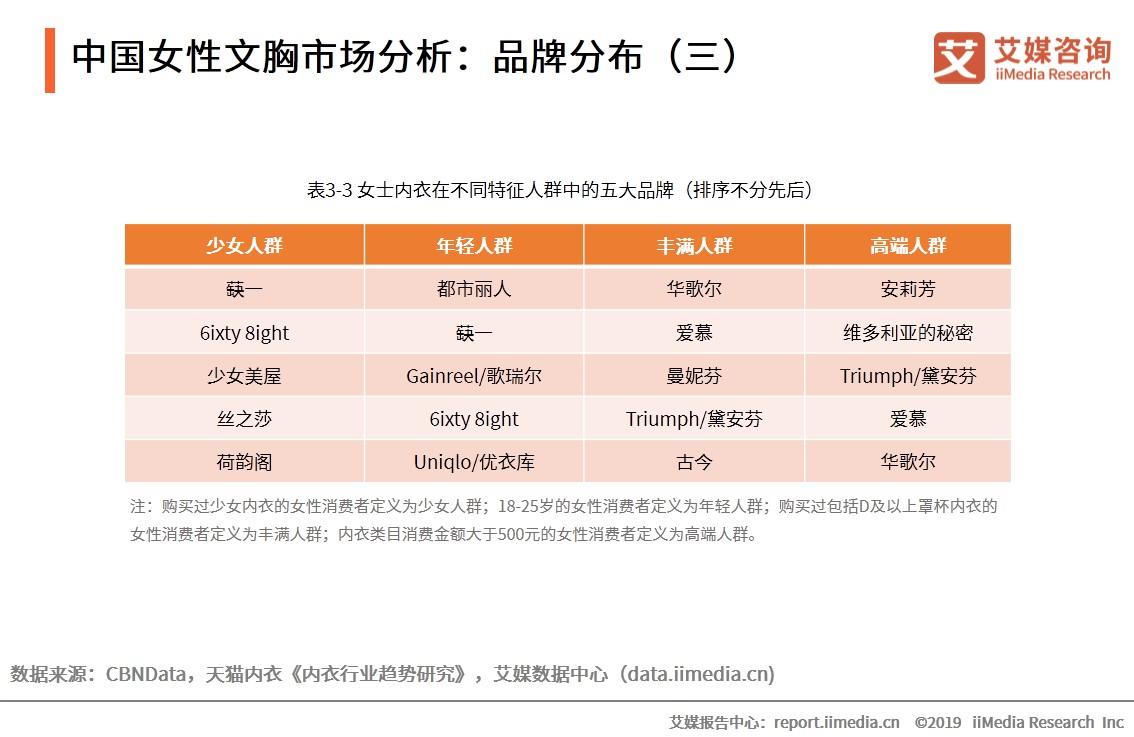 中国女性文胸市场分析:品牌分布